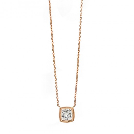 Bezel Set Rose Gold Diamond Solitaire Pendant