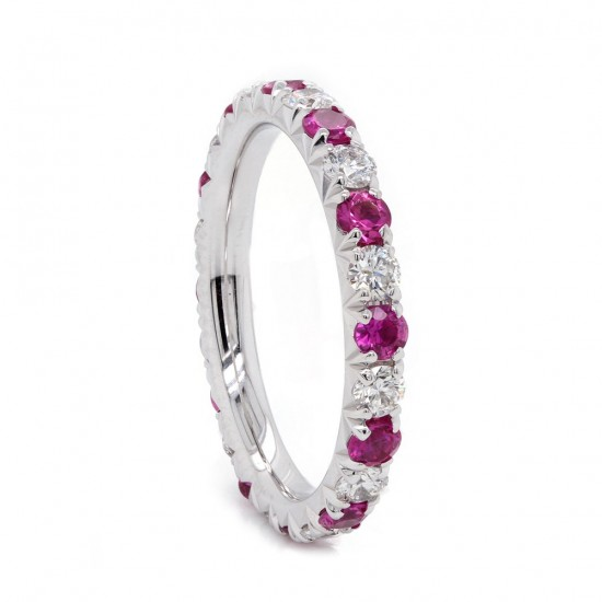 Pink Sapphire and Diamond Eternity Band
