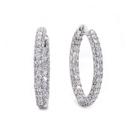 Diamond Hoop Earring 3.31 cttwt