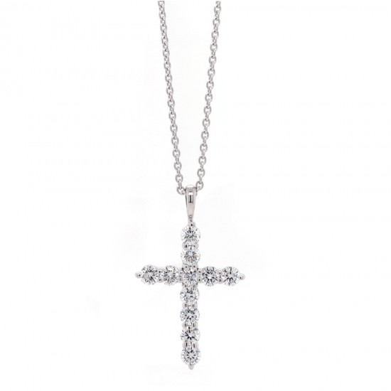 White Gold Diamond Cross Necklace .78 ct twt