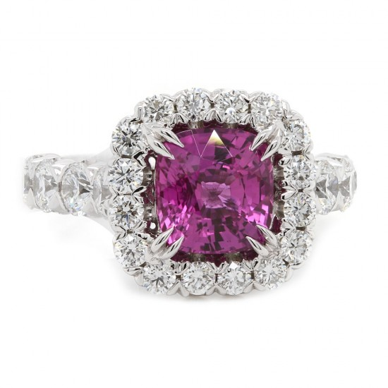 Pink Sapphire Halo Estate Ring