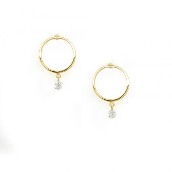 Yellow Gold Open Circle Dangle Earrings