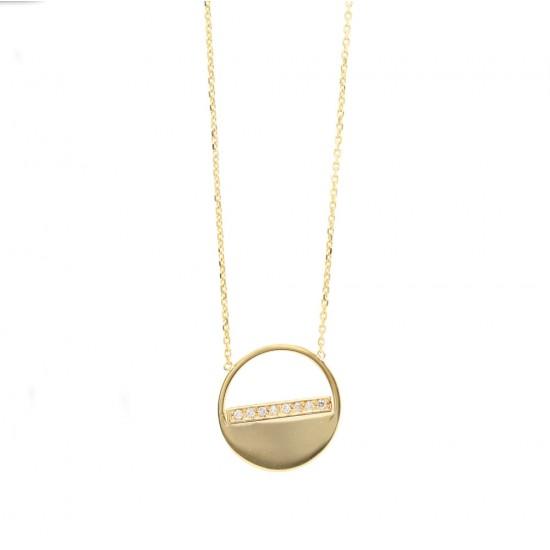 "Yellow Gold ""Half Open"" Circle Pendant"