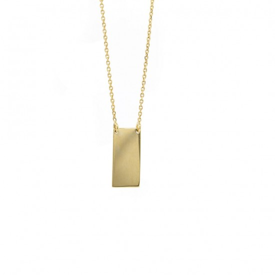 Yellow Gold Rectangular Bar Pendant
