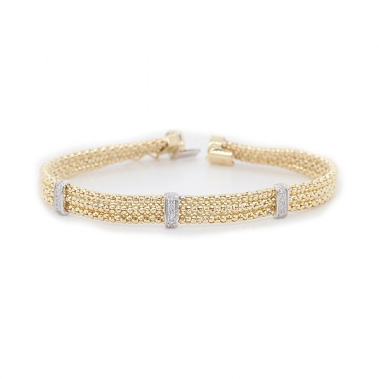 Yellow Gold Mesh Link Diamond Bracelet