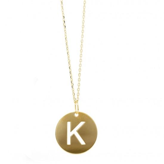 'K' Initial Disc Pendant