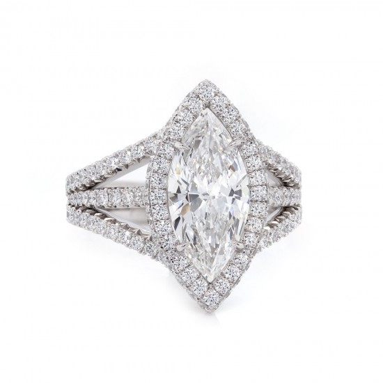 Marquise Diamond Halo Triple Band Engagement Ring