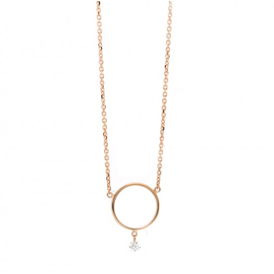 Rose Gold Circle Diamond Dangle Pendant