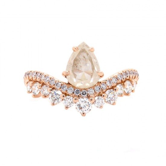 Rustic Pear Shaped Diamond Ring