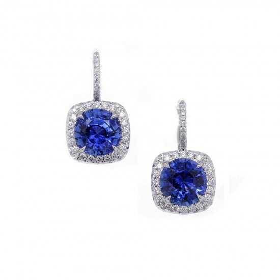 Sapphire Diamond Halo Drop Earrings