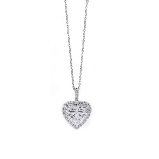 Heart Diamond Halo Pendant 2.01 ct