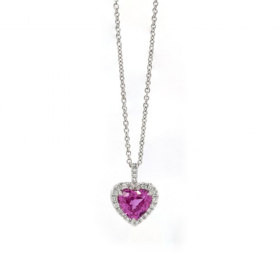 Heart Pink Sapphire Halo Pendant