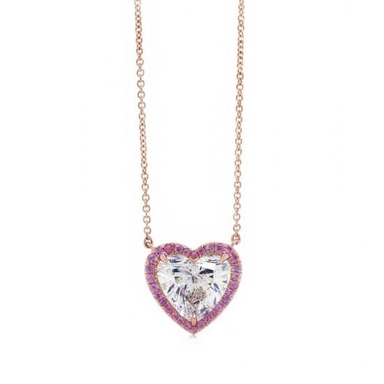 Heart Diamond Pink Sapphire Halo Pendant