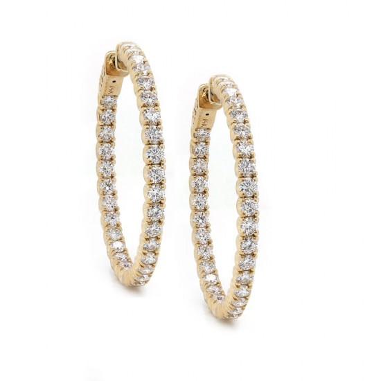 Inside Out Diamond Hoop Earrings 35 mm