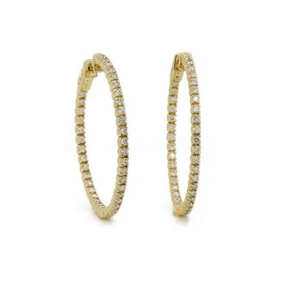 Inside Out Diamond Hoop Earrings 36mm