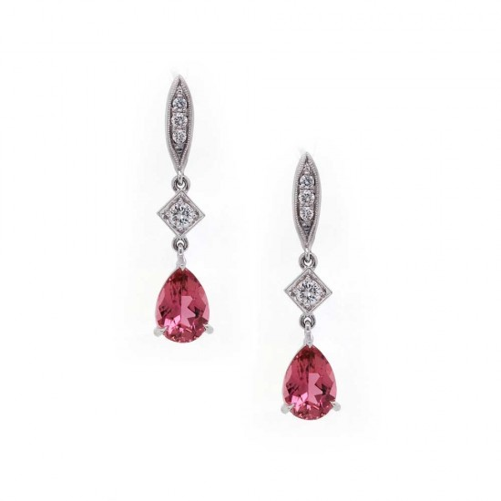 Pink Tourmaline Pear Drop Earrings