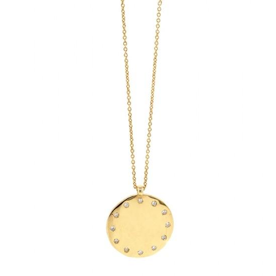 Gold Diamond Disc Pendant
