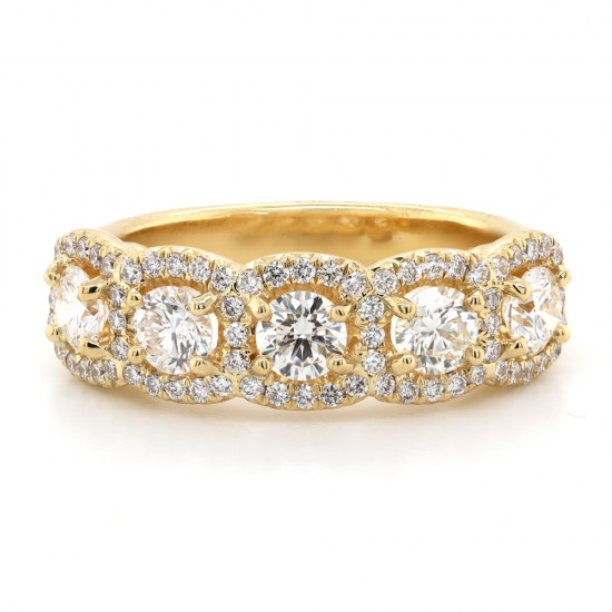 Five Stone Pave Halo Ring