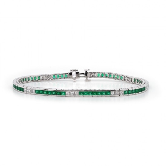 Princess Cut Emerald and Diamond Bracelet
