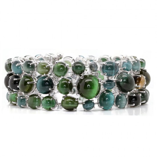 Cats Eye Tourmaline and Diamond Bracelet