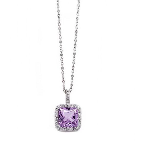 Violet Sapphire Halo Pendant