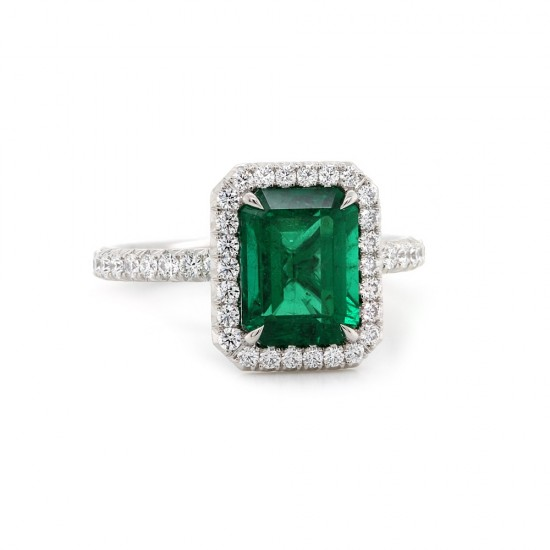 Emerald Cut Emerald Halo Ring