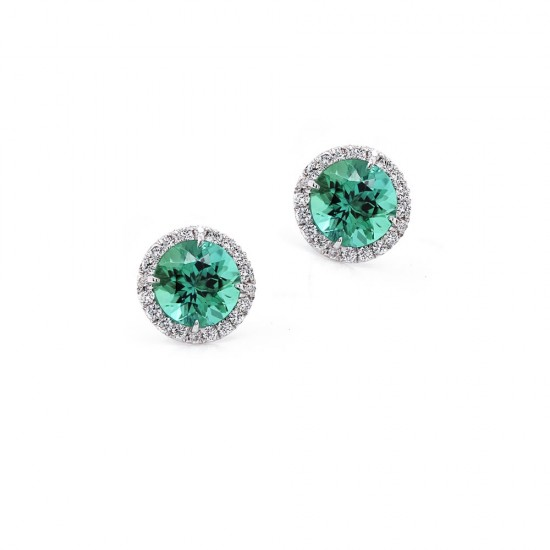 Mint Green Tourmaline Halo Stud Earrings