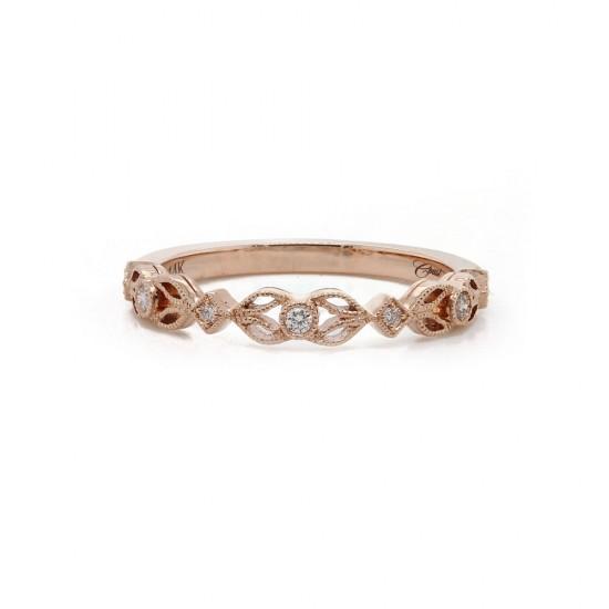 Pierced Floral Rose Gold Diamond Band