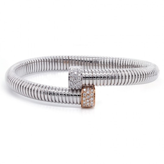 White Gold Flexible Bypass Diamond Bracelet