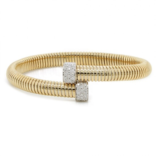 Yellow Gold Flexible Diamond Bangle Bracelet