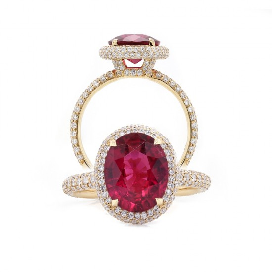 Rubellite Tourmaline Halo Ring