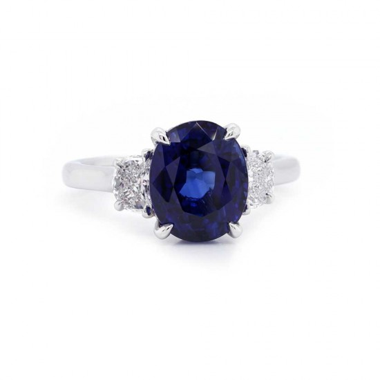 Oval Sapphire Three Stone Ring