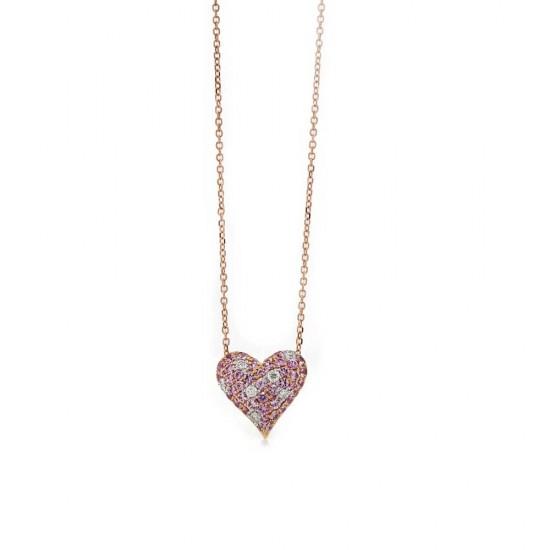 Rose Gold Pink Sapphire Heart Pendant