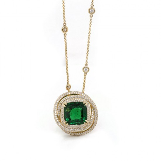 Tsavorite and Diamond Swirl Halo Pendant