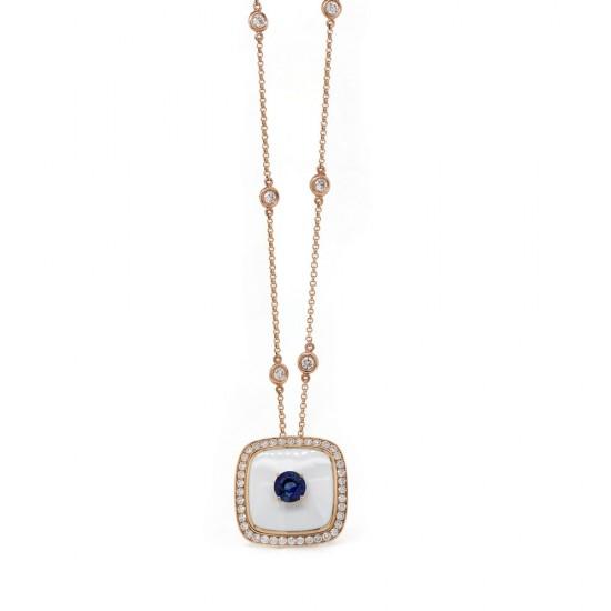 Rose Gold Sapphire and Diamond Pendant