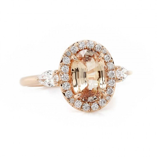 Peach Sapphire Rose Gold Halo Ring
