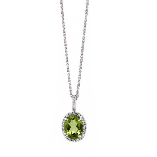 Peridot Diamond Halo Pendant