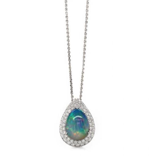 Black Opal Pearl Halo Pendant