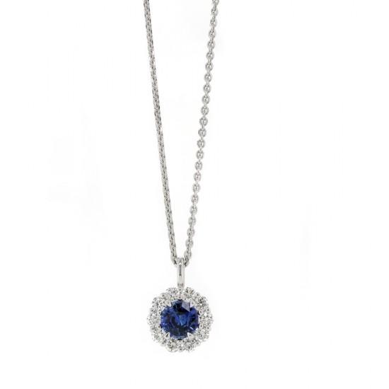 Blue Sapphire Diamond Halo Pendant