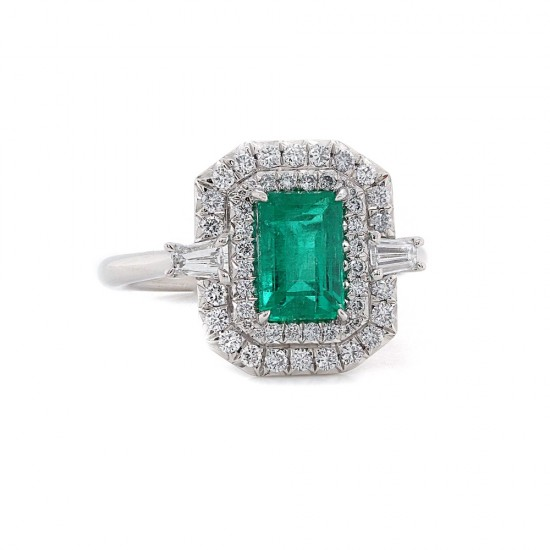 Emerald Cut Emerald Diamond Halo Ring