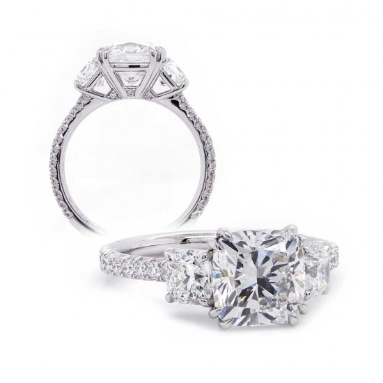 Three Stone Cushion Cut Diamond Engagement Ring