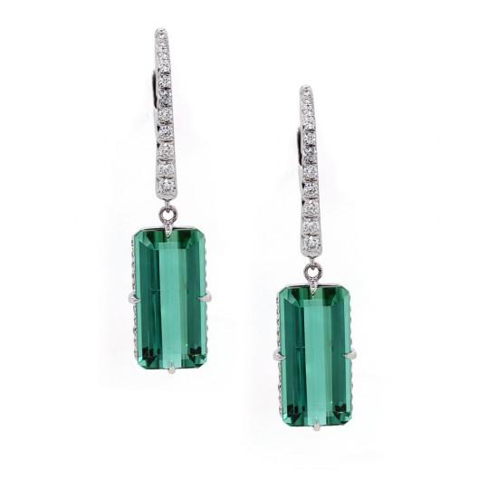Emerald Cut Tourmaline Drop Earrings