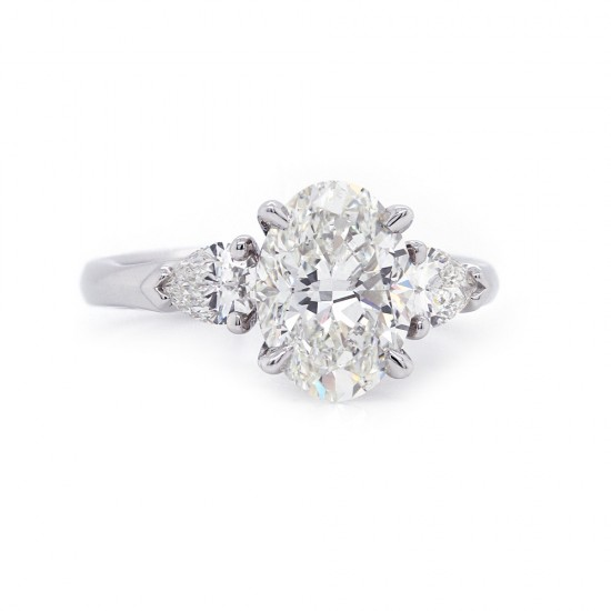 Oval Diamond Pear Sides Engagement Ring
