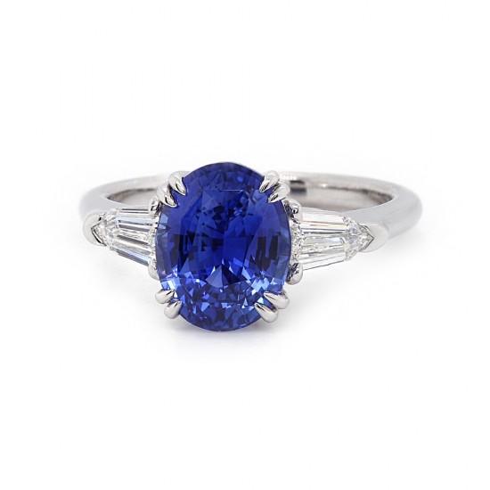 Oval Blue Sapphire Baguette Sides