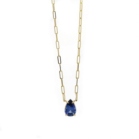 Pear Shaped Blue Sapphire Solitaire Necklace