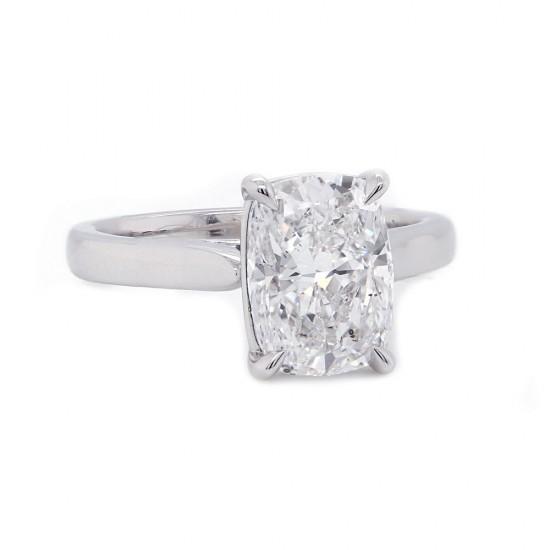 Elongated Cushion Cut Diamond Solitaire Engagement Ring