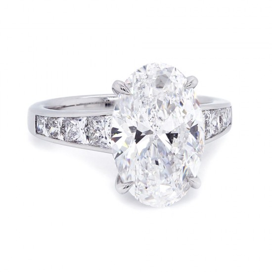 Oval Diamond Channel Engagement Ring