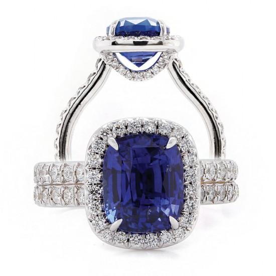 Elongated Cushion Cut Sapphire Halo Ring