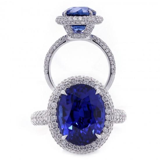 Royal Blue Sapphire Halo Ring