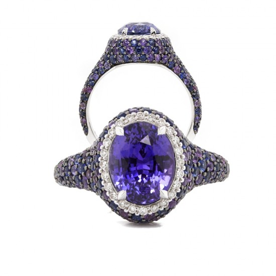 Purple Color Change Sapphire Cotton Candy Ring